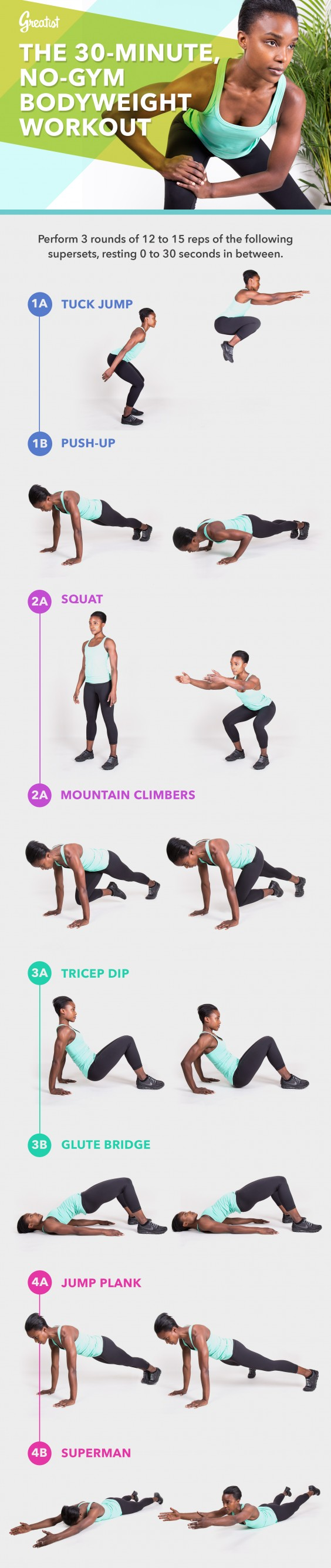 30-Minute Home Bodyweight Workout Graphic