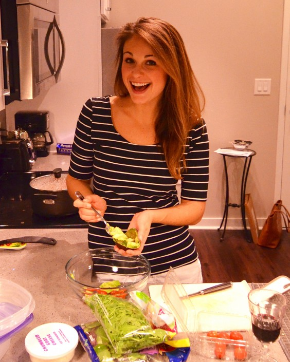 The author, Locke, cooking in her kitchen.