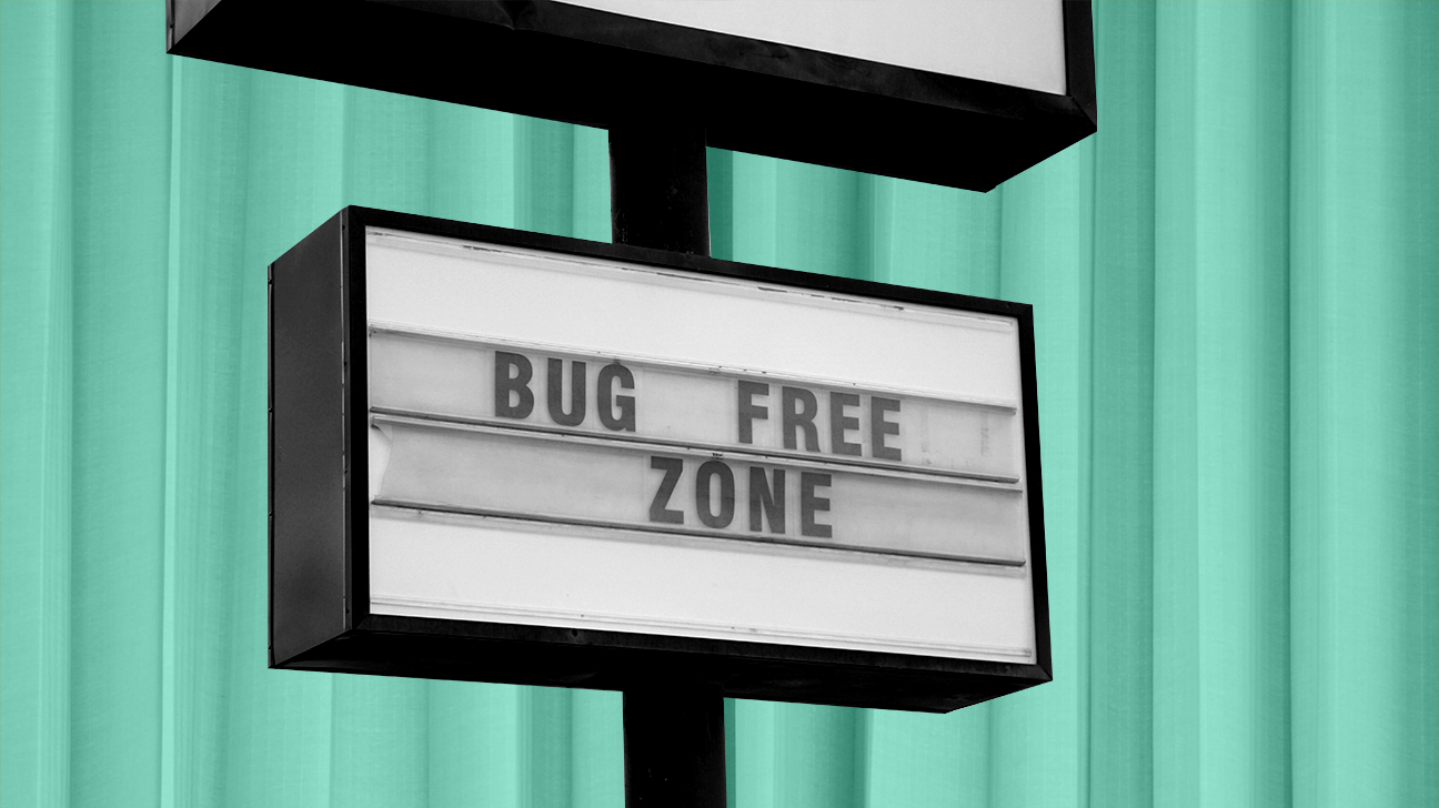 sign that says bug-free zone after person worked out how to get rid of bugs header crop