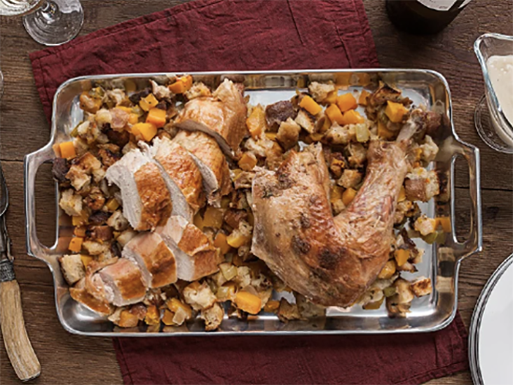 Spatchcocked Turkey with Butternut Squash Stuffing